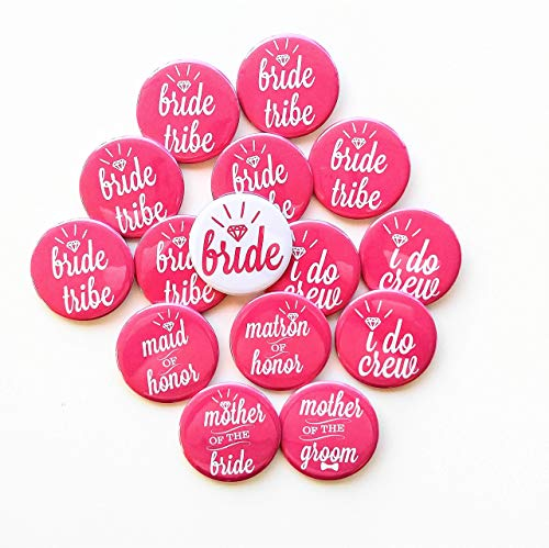 Pink Bachelorette Buttons Bridal Party Bride Tribe Buttons Bachelorette Pins Bachelorette Party -