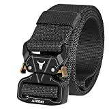 AIZESI Men Tactical Belt 1.57' Heavy Duty Belt, Quick-Release Military Style Shooters Nylon Belts with Metal Buckle (125cm/49in, C-Black)