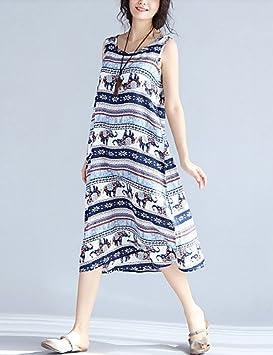 GAOLIM Womens Suelto Vestido Suelto - Bloque De Color Animal Print,Azul,M