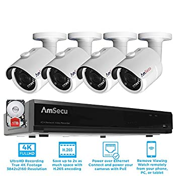 Image of AmSecu Network Video Recorder 1080P UltraHD 4K NVR Kit, (1) 4CH POE NVR & (4) UltraHD 4K 8MP 3.6mm Lens POE Bullet Cameras, Included 1TB Hard Drive, Day and Night Vision IR IP66 Weatherproof H.265 Surveillance DVR Kits