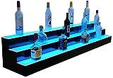 "72"" 3 Tier LED Lighted Liquor Bottle Display Shelves, Commercial Grade, Remote Control LED Lighting"