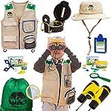 Moody Goat 21 - Pcs Outdoor Explorer Gear Deluxe Play Set for Kids – Junior Adventurer Equipment Kit for Children – Exploration Toys with Binoculars, Bug Catcher, Magnifying Glass & Backpack