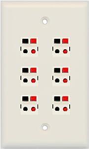 RiteAV 6 Port Speaker Jack Single Gang Wall Plate for Home Theater - Light Almond