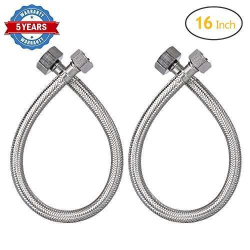 - HOMEIDEAS 16-Inch Faucet Connector Braided Stainless Steel Supply Hose 3/8