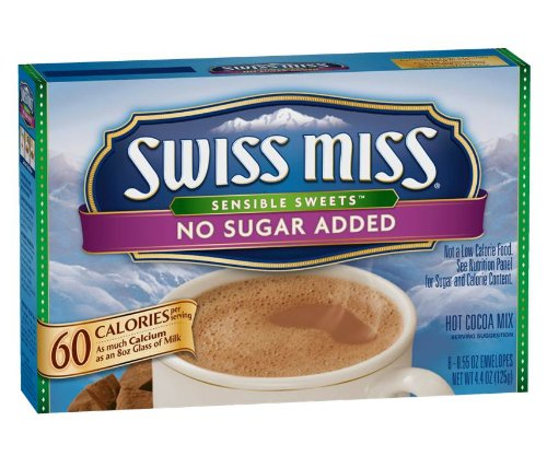 - Swiss Miss Hot Cocoa Mix, Sensible Sweets, No Sugar Added, 8 .55 Oz. Envelopes (Pack of 12)