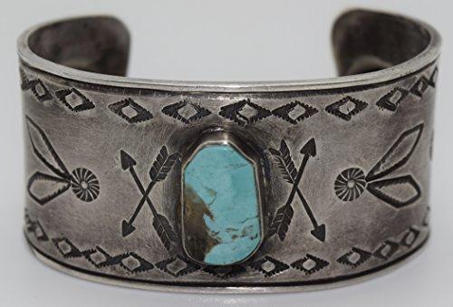 Kachina Pony (Genuine Greg Lewis Turquoise Bracelet with Double Arrow and Shield Design)