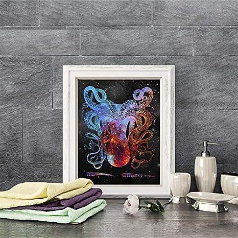 Flduod Cuadro sobre Lienzo Pulpo mar Vida Arte impresión Lienzo náutico Cartel decoración de la Pared Costera Kraken Pulpo Imagen de Pintura de Arte Arte de la Pared Decoración de baño