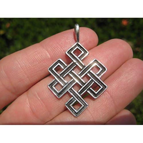 77aecb88e11a 70% OFF Collar colgante nudo budista afortunado del Himalaya de la plata 925  A26