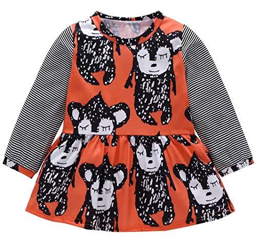 Animal Printed Dress - Kids Toddler Baby Girls Cute Animal Style Printed Autumn Long Sleeved Dress Size 6-12 Months/Tag80 (Orange)