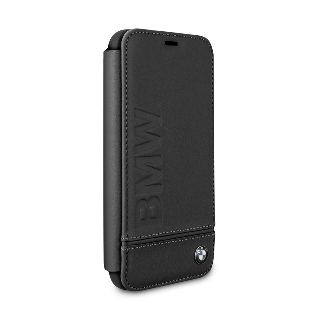 BMW iPhone X & iPhone Xs Case - by CG Mobile - Black Hard Bookstyle Cell Phone Case Genuine Leather | Easily Accessible Ports | Officially Licensed.