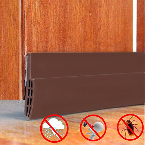 Sound Proof Door Strip - Under Door Sweep Weather Stripping Seal Draft Stopper Sound Proof and Block Cold Hot Air 1.6'' Width x 39'' Length by Sensphi