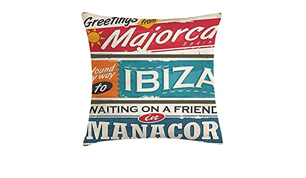 DHNKW Ibiza Throw Pillow Cushion Cover, Vacation Themed ...