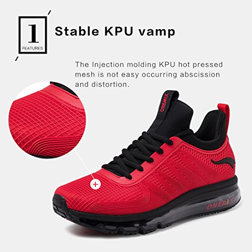 Sport Course Hommes Spécialisées Pied Noir de Sneaker Léger ONEMIX pour Rouge à Chaussures de Chaussures et Respirant EFYpHwqz