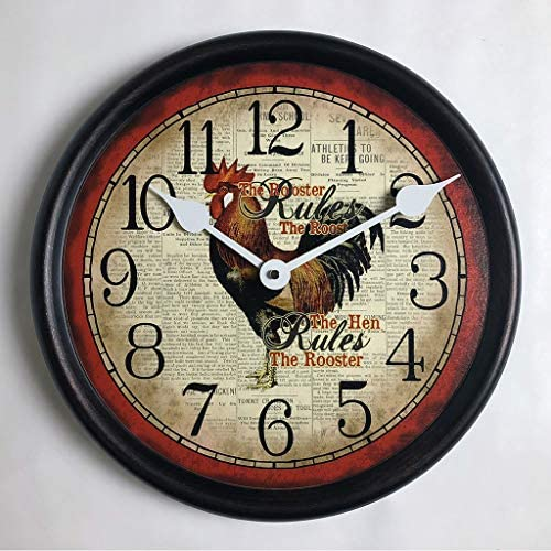 Hens Rule Wall Clock, Available in 8 Sizes, Most Sizes Ship The Next Business Day, Whisper Quiet.