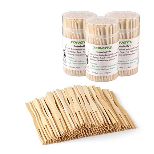 Bamboo Forks 3.5 Inch, Mini Food Picks for Party, Banquet, Buffet, Catering, and Daily Life. Two Prongs - Blunt End Toothpicks for Appetizer, Cocktail, Fruit, Pastry, Dessert. 330 PCS (3 packs of 110)]()