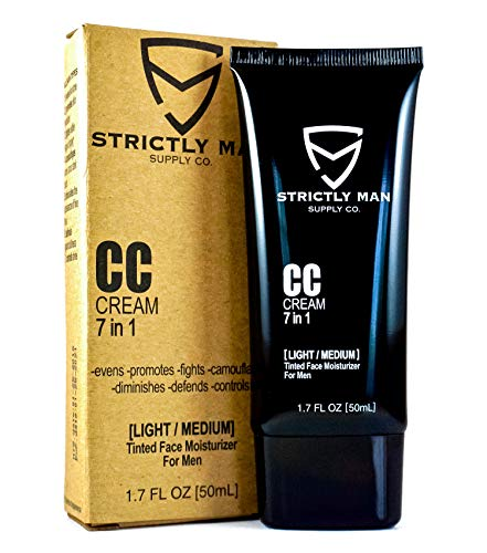 CC Cream for Men by Strictly Man Supply Co. | 7 in 1 Tinted Face Moisturizer for Men | Grooming for the Industrious Man | Light-Medium, 1.7 Ounces