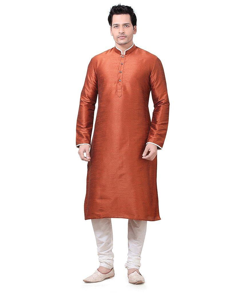 8d12a57463 Larwa Men's Silk Kurta Pyjama Set (Dark Orange, 40): Amazon.in: Clothing &  Accessories