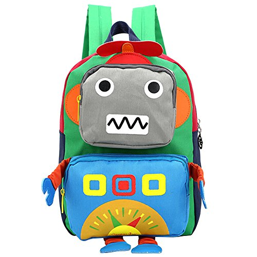 3D Toddler Baby Kids Walking Safety Harness Leash Backpack Travel Strap Anti Lost Mini (Robot Green) 1yr Robot