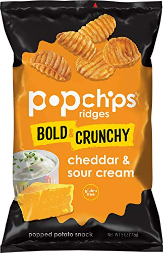 - Popchips Ridges Cheddar & Sour Cream Potato Chips Single Serve 5oz Bags (Pack of 12)