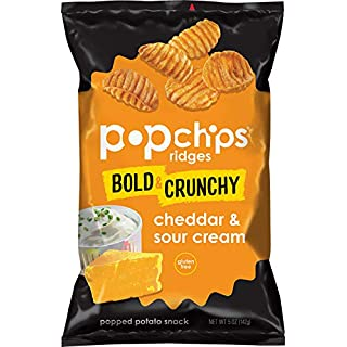 Popchips Ridges Cheddar & Sour Cream Potato Chips Single Serve 5oz Bags (Pack of 12)