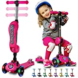 Y100 2-in-1 Scooter for Kids with Folding Removable Seat ZERO ASSEMBLY-Adjustable Height Kick Scooter for Toddlers Girls & Boys 2-12 Years-Old - Fun Outdoor Toys for Kids Fitness 3 LED Flashing Wheels