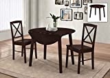 Eat in Kitchen Table Kings Brand Furniture 3 Piece Wood Dinette Drop Leaf Table & 2 Chairs Dining Set, Cappuccino