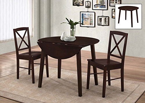 2 Piece Drop Leaf (Kings Brand Furniture 3 Piece Wood Dinette Drop Leaf Table & 2 Chairs Dining Set, Cappuccino)
