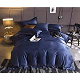 Simple Solid Color Double-sided Washed Silk Four Summer Silky Bare Sleep Bedding Sheets ZXCV (Color : Blue, Size : 220240cm)