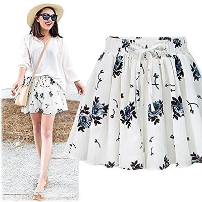Innifer Women Elastic Waist Plus Size Casual A Line Culottes Short Skirt