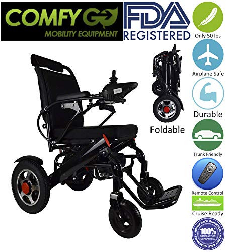 2019 New ComfyGo Fold'n Go Remote Control Ultra Lightweight Electric Power Wheelchair, Silla de Ruedas Electrica, FDA Approved and Air Travel Allowed, Heavy Duty, Mobility Motorized, Portable Power