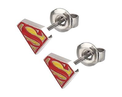 074feeb84 Amazon.com: DC Comics Superman Logo Earrings: Sports Fan Earrings ...