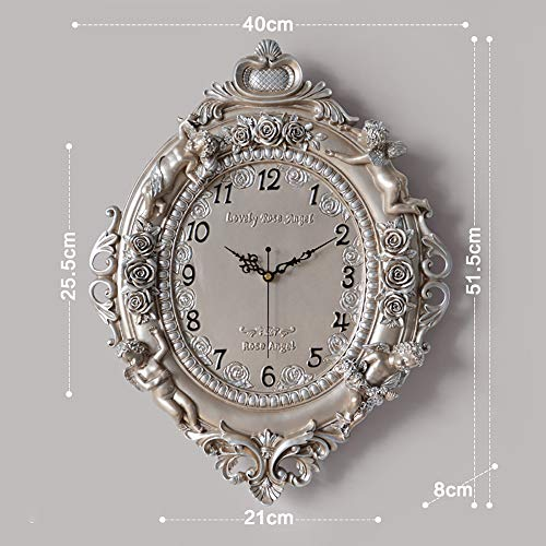 WF European Wall Clock Resin Dial Glass Lid Super Quality Quartz Sweep Movement Creative Fashion Unique Elegant Design Traditional Vintage Style Living Room Kitchen Home Decoration, Champagne gold (Champagne Arabic Dial)