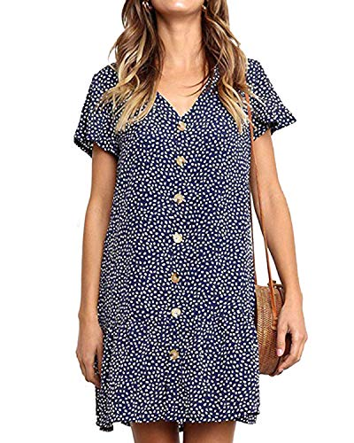 - kenoce Women's V Neck Polka Dot Button Down Ruffles Casual Loose Swing Mini Short T-Shirt Dress Summer Beach Dress Sundress Blue XL
