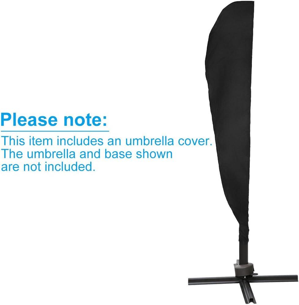 nero copertura a banana per ombrellone parasole da terrazzo e da giardino portatile con cerniera e cordoncino a coulisse Lictin impermeabile ed elastica