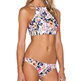 HMX Womens Floral Printed Halter Two Piece Swimsuit Bikini Set