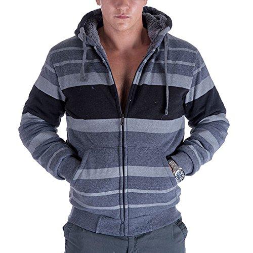 Sherpa Lined Fleece Mens Hoodie Zip Up Stripe Long Sleeve Sweatshirt, Dark Grey-L