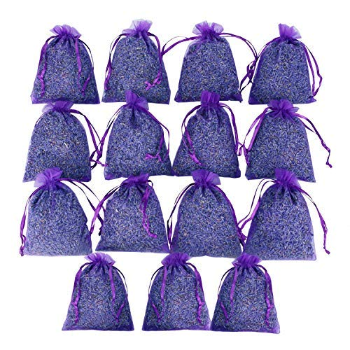 D'vine Dev 16 Purple French Dried Lavender Sachets Craft Bag - Lavender Sachets Wedding Toss, Home Fragrance Sachets Drawers Dressers - by Lavande Sur - Sachet Fragrance