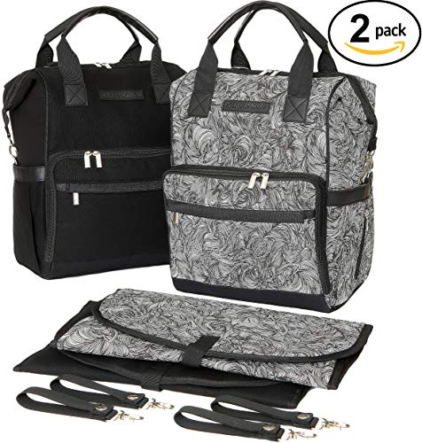 "Land of Goods Baby Diaper Bag Backpack Matching Set with Waterproof Changing Mats, Stroller Straps, for Men and Women, Mom and Dad(Pack of 2) |""Timeless Maze"""