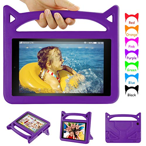 Fire HD 8 Tablet Case Kids- Auorld Light Weight Shock Proof Handle Kid-Proof Cover Kids Case for All-New HD 8 Tablet(Compatible with 8th/7th/6th Generation) (Purple)