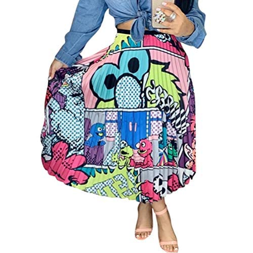 ChengQi Pleated Skirt for Women Fashion Cartoon Print A-Line Skirt Vintage Skirts