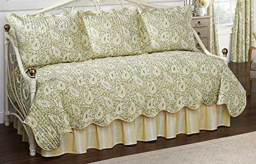 (Waverly Paisley Verveine 5-Piece Quilted Reversible Comforter Day Bed Cover Set, 105