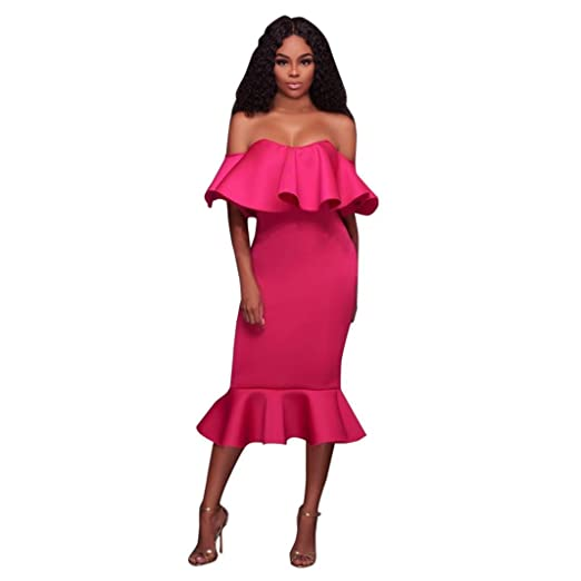 d8fc972f80 Ankola Dresses,Womens Off Shoulder High Low Bodycon Mermaid Evening Party Maxi  Dress (Hot