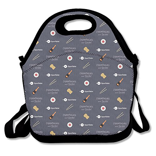 Zgzgz Champagne Sushi Opentable Food Wine Adjustable Straps Lunch Box Bag Tote Holder Suitable For Students And Working Families
