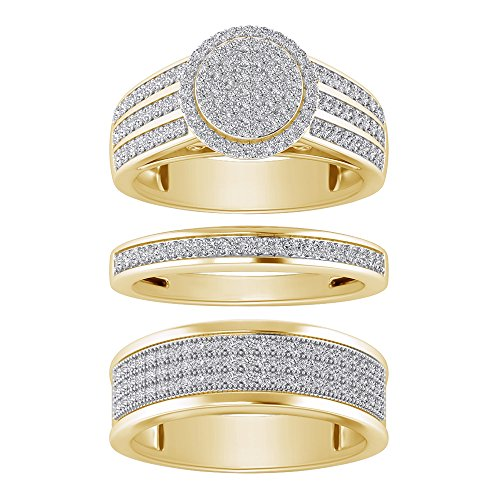 Sterling Silver 925 Yellow Plated Round Cut White Cubic Zirconia Cluster His & Her Wedding Trio Ring Set by Pretty Jewels