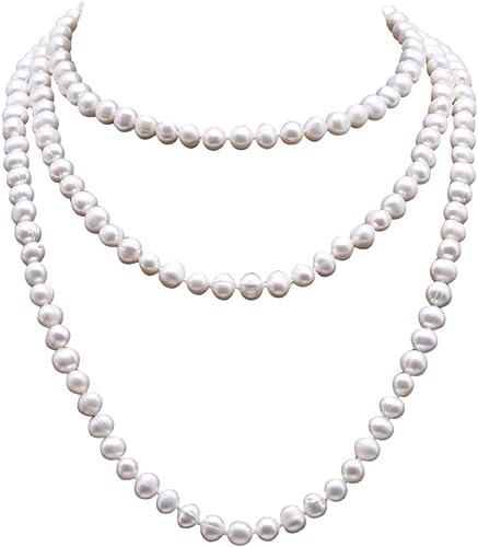 JYX - Collar largo de perlas de agua dulce redondas y color blanco