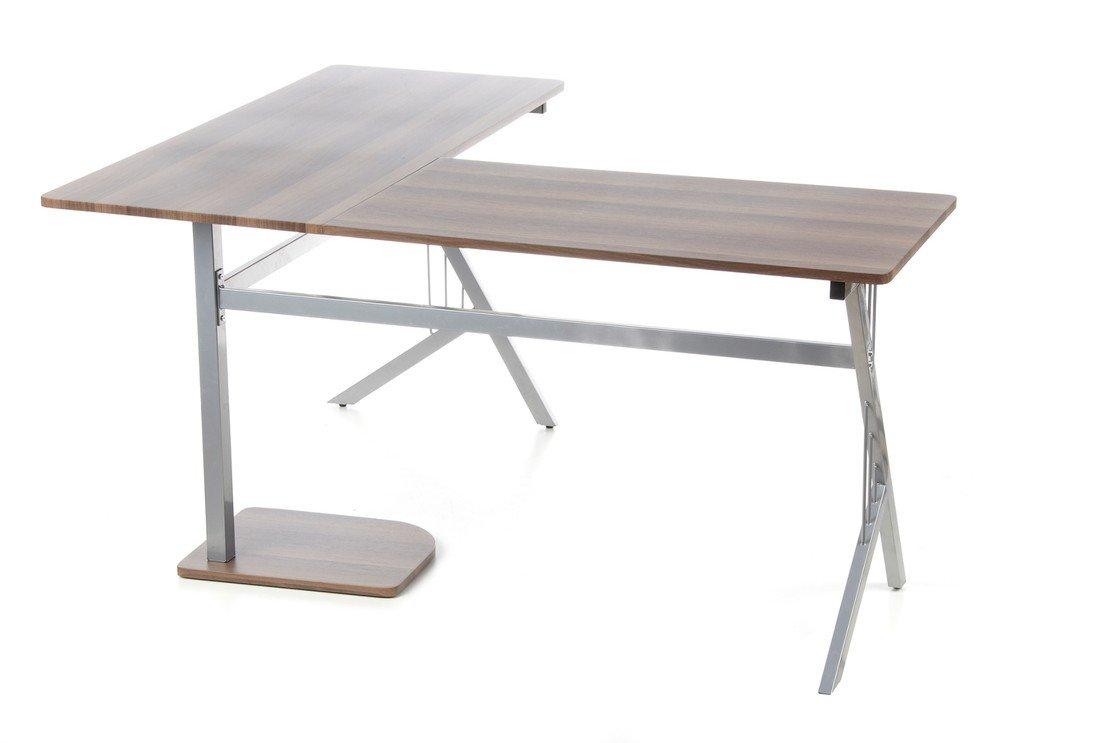 Hjh OFFICE 673460 Escritorio POLLUX nogal plateado mesa de ...