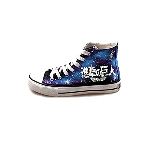 jeylu Attack on Titan Logo de anime cosplay Zapatos Azul Lienzo Zapatos luminoso versión adulto, color Azul, talla 25,5 cm