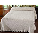 Maine Heritage Weavers Colonial Rose Bedspread, Full, White