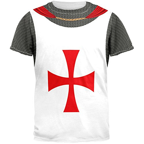 Knights Templar Costume All Over Adult T-Shirt - X-Large (Mens Templar Knight Costume)