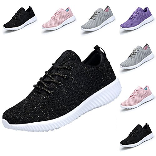 DOMOGO Kumikiwa Womens Sneakers Casual Shoes Sport Running Breathable Walking Shoes Plus Size Black